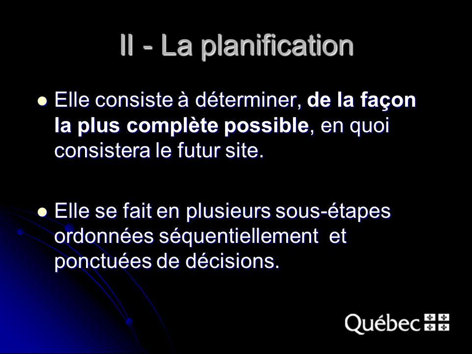 II - La planification Elle consiste à déterminer, de la façon la plus complète possible, en quoi consistera le futur site.
