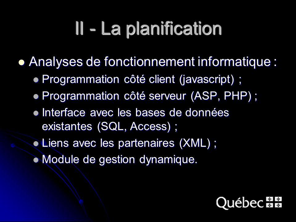 II - La planification Analyses de fonctionnement informatique : Analyses de fonctionnement informatique : Programmation côté client (javascript) ; Programmation côté client (javascript) ; Programmation côté serveur (ASP, PHP) ; Programmation côté serveur (ASP, PHP) ; Interface avec les bases de données existantes (SQL, Access) ; Interface avec les bases de données existantes (SQL, Access) ; Liens avec les partenaires (XML) ; Liens avec les partenaires (XML) ; Module de gestion dynamique.