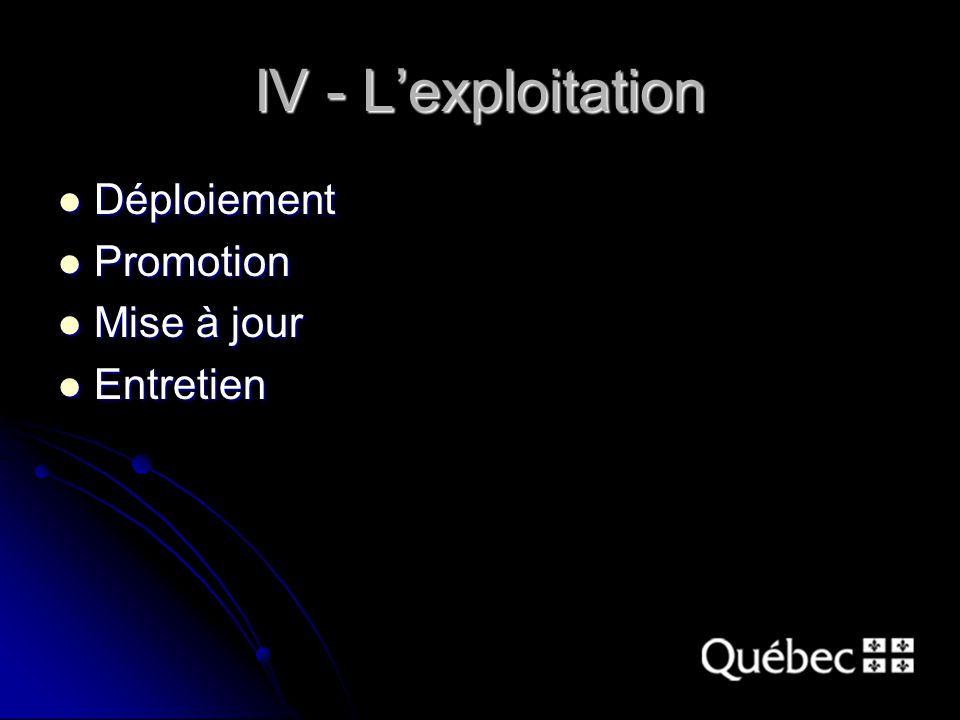 IV - L'exploitation Déploiement Déploiement Promotion Promotion Mise à jour Mise à jour Entretien Entretien