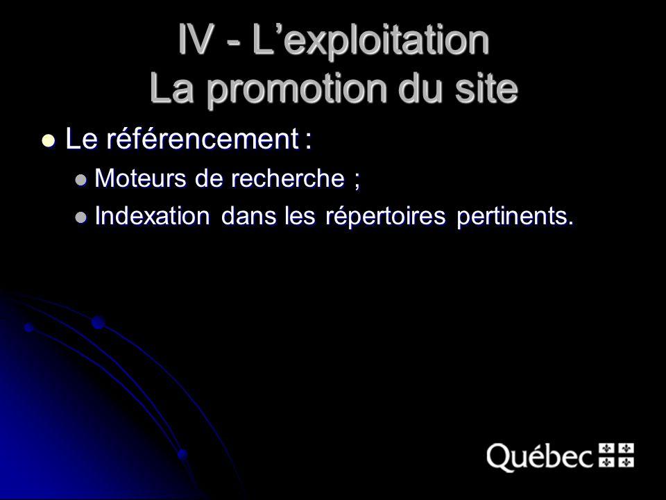 IV - L'exploitation La promotion du site Le référencement : Le référencement : Moteurs de recherche ; Moteurs de recherche ; Indexation dans les répertoires pertinents.
