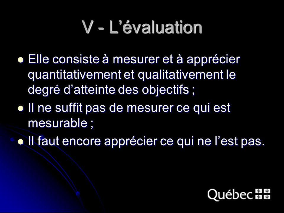 V - L'évaluation Elle consiste à mesurer et à apprécier quantitativement et qualitativement le degré d'atteinte des objectifs ; Elle consiste à mesurer et à apprécier quantitativement et qualitativement le degré d'atteinte des objectifs ; Il ne suffit pas de mesurer ce qui est mesurable ; Il ne suffit pas de mesurer ce qui est mesurable ; Il faut encore apprécier ce qui ne l'est pas.