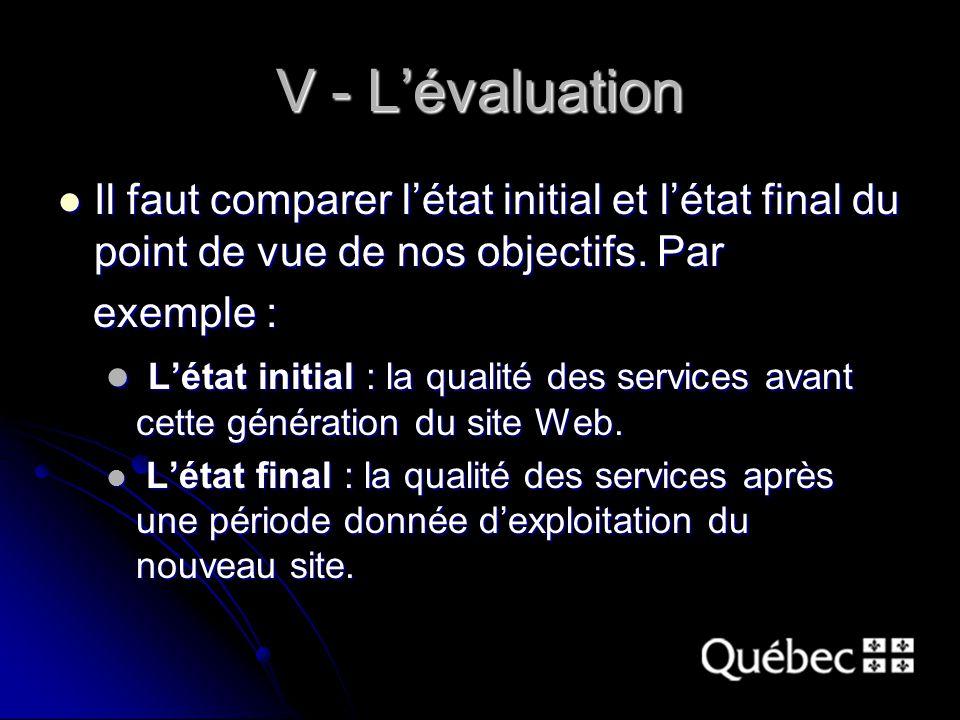 V - L'évaluation Il faut comparer l'état initial et l'état final du point de vue de nos objectifs.