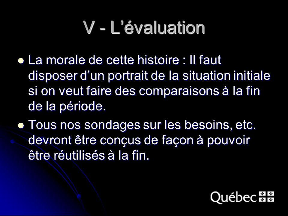 V - L'évaluation La morale de cette histoire : Il faut disposer d'un portrait de la situation initiale si on veut faire des comparaisons à la fin de la période.