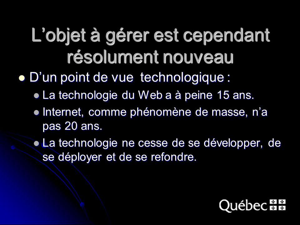 L'objet à gérer est cependant résolument nouveau D'un point de vue technologique : D'un point de vue technologique : La technologie du Web a à peine 15 ans.