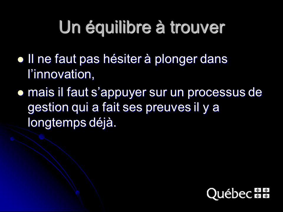 Un équilibre à trouver Il ne faut pas hésiter à plonger dans l'innovation, Il ne faut pas hésiter à plonger dans l'innovation, mais il faut s'appuyer sur un processus de gestion qui a fait ses preuves il y a longtemps déjà.