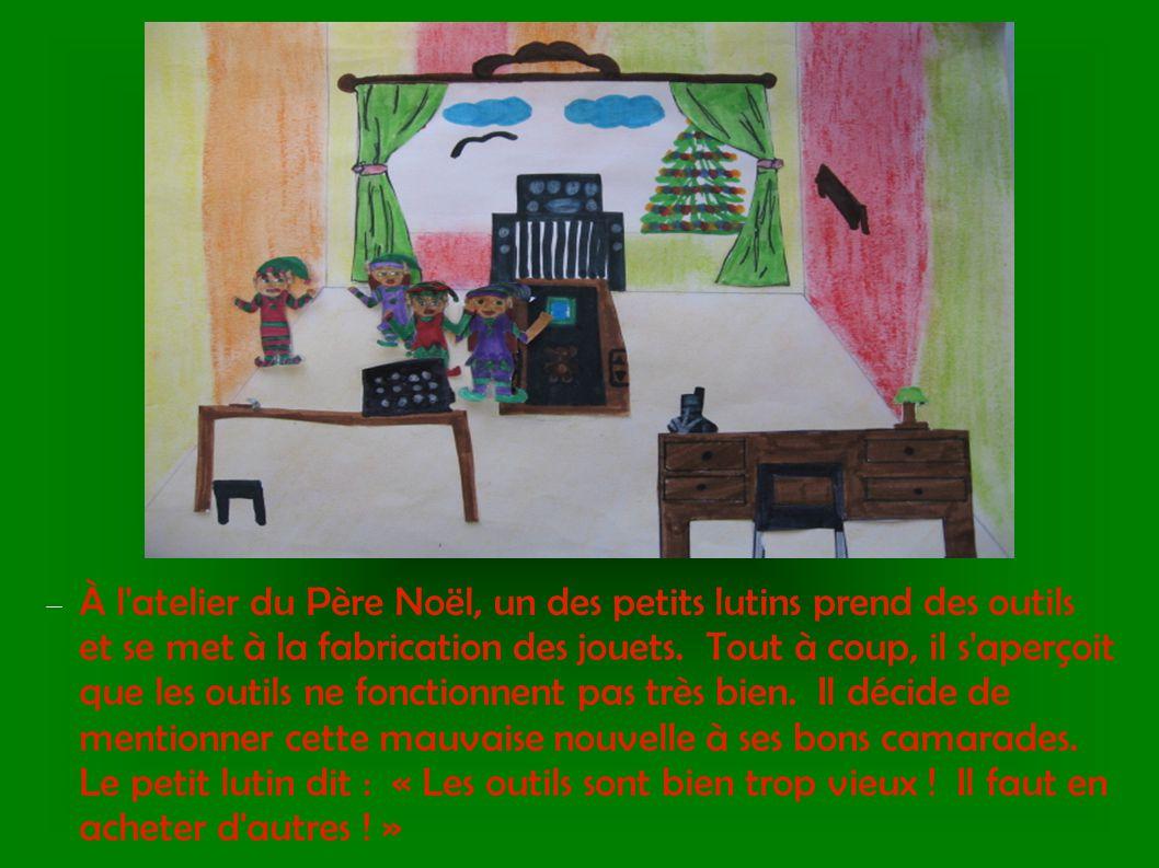  À l'atelier du Père Noël, un des petits lutins prend des outils et se met à la fabrication des jouets. Tout à coup, il s'aperçoit que les outils ne
