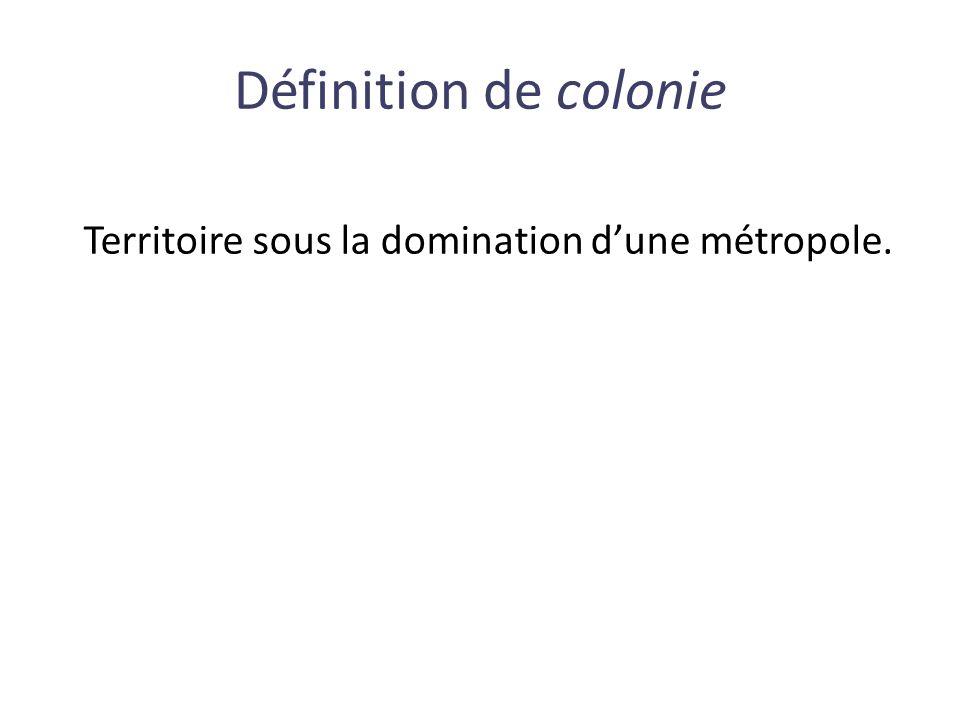 Territoire sous la domination d'une métropole. Définition de colonie