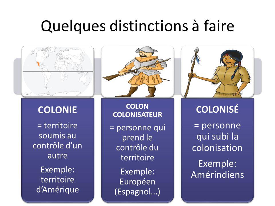 Quelques distinctions à faire COLONIE = territoire soumis au contrôle d'un autre Exemple: territoire d'Amérique COLON COLONISATEUR = personne qui pren