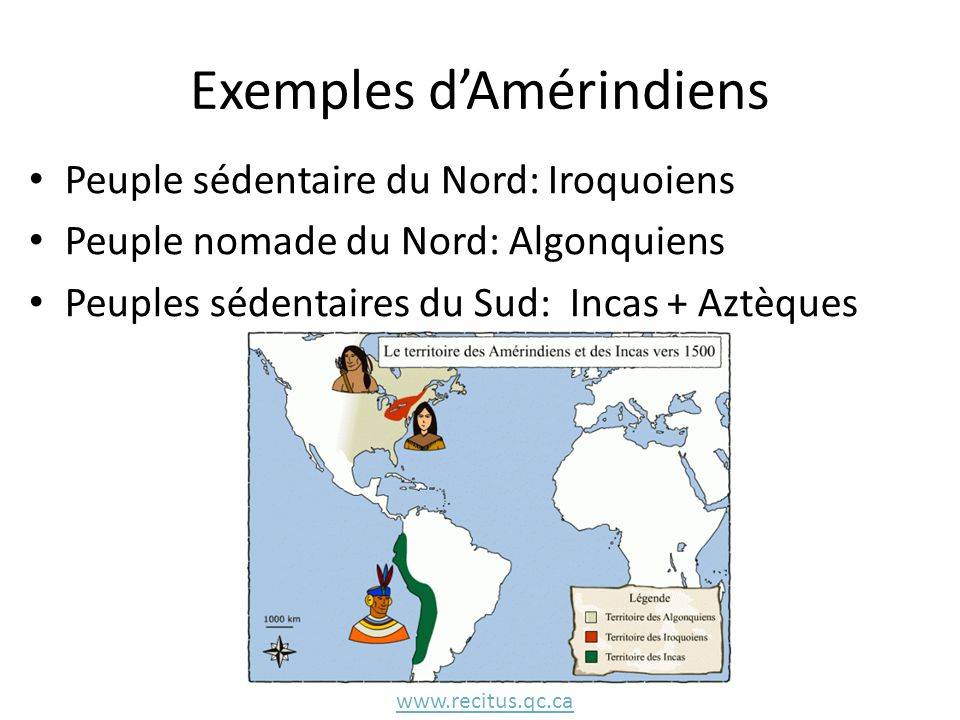 Exemples d'Amérindiens Peuple sédentaire du Nord: Iroquoiens Peuple nomade du Nord: Algonquiens Peuples sédentaires du Sud: Incas + Aztèques www.recit