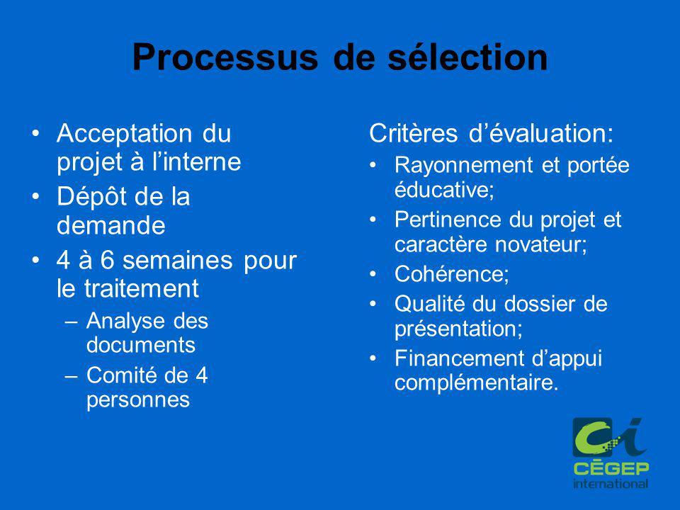 Processus de sélection Acceptation du projet à l'interne Dépôt de la demande 4 à 6 semaines pour le traitement –Analyse des documents –Comité de 4 per