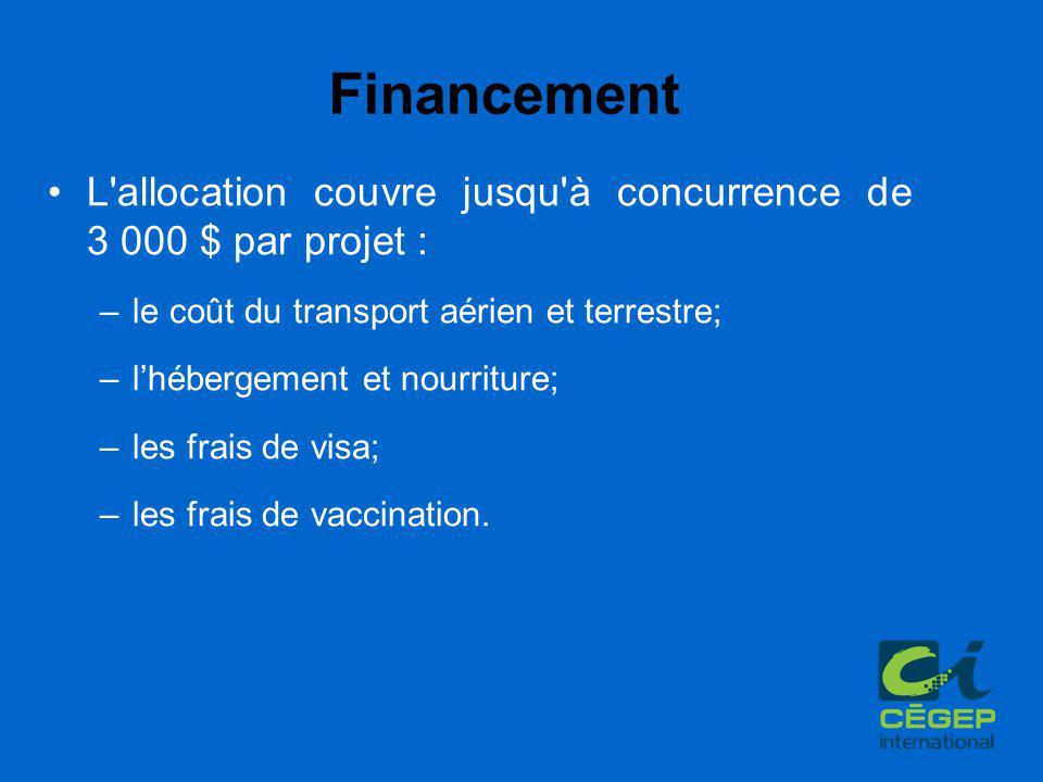 Financement L allocation couvre jusqu à concurrence de 3 000 $ par projet : –le coût du transport aérien et terrestre; –l'hébergement et nourriture; –les frais de visa; –les frais de vaccination.