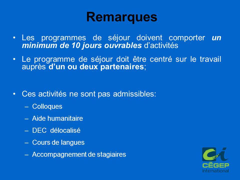 Remarques Les programmes de séjour doivent comporter un minimum de 10 jours ouvrables d'activités Le programme de séjour doit être centré sur le trava