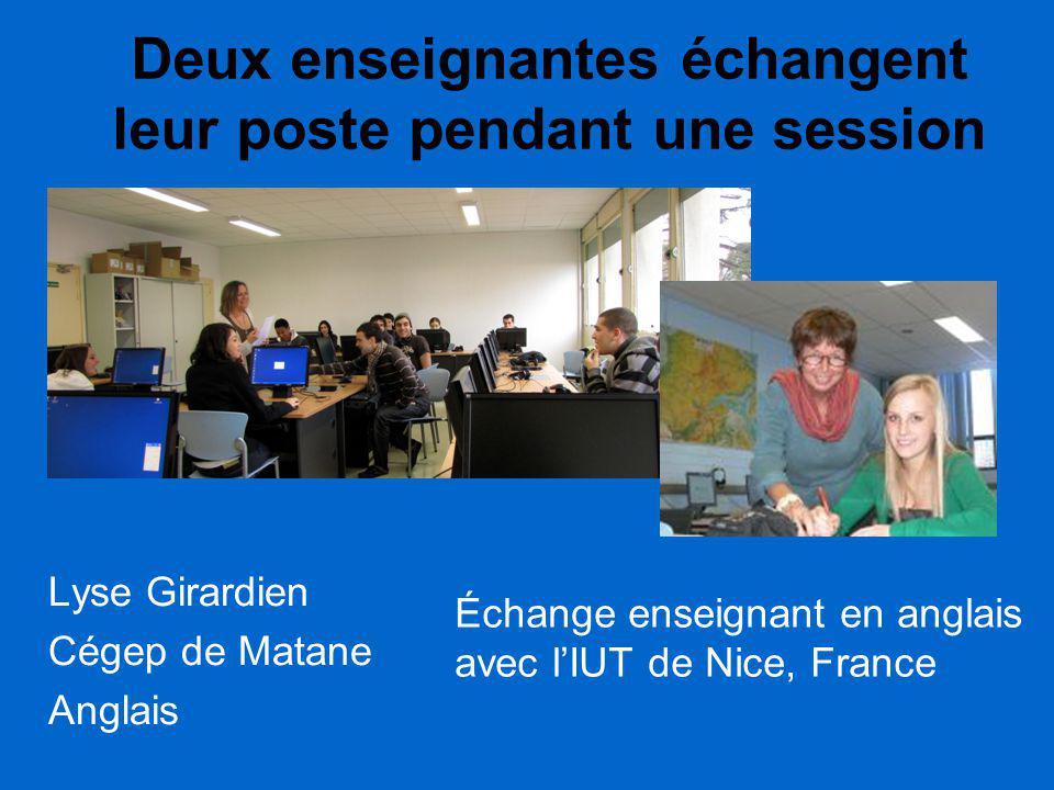 Deux enseignantes échangent leur poste pendant une session Lyse Girardien Cégep de Matane Anglais Échange enseignant en anglais avec l'IUT de Nice, Fr