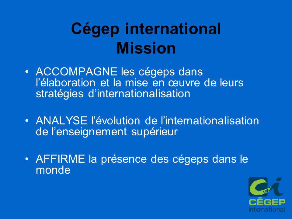 Cégep international Mission ACCOMPAGNE les cégeps dans l'élaboration et la mise en œuvre de leurs stratégies d'internationalisation ANALYSE l'évolution de l'internationalisation de l'enseignement supérieur AFFIRME la présence des cégeps dans le monde