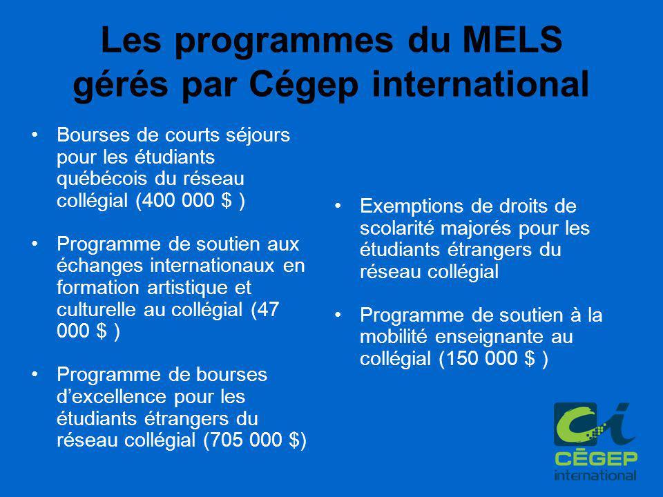Les programmes du MELS gérés par Cégep international Bourses de courts séjours pour les étudiants québécois du réseau collégial (400 000 $ ) Programme