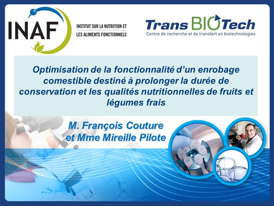 Optimisation de la fonctionnalité d'un enrobage comestible destiné à prolonger la durée de conservation et les qualités nutritionnelles de fruits et l