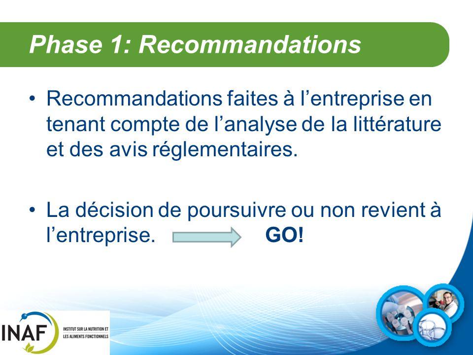 Phase 1: Recommandations Recommandations faites à l'entreprise en tenant compte de l'analyse de la littérature et des avis réglementaires. La décision