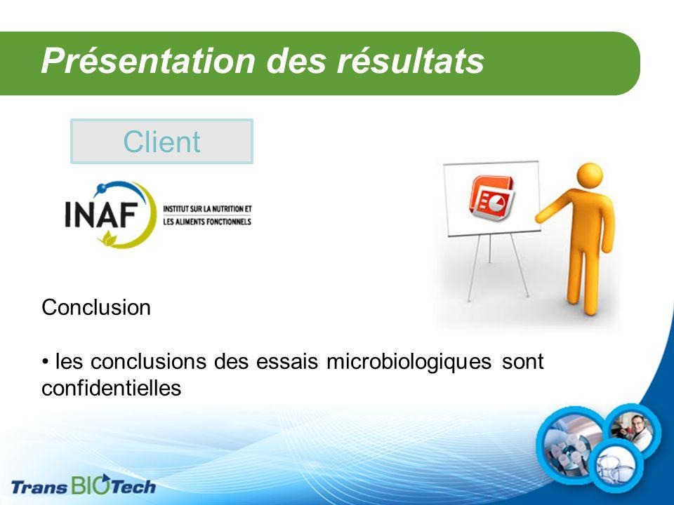 Présentation des résultats Client Conclusion les conclusions des essais microbiologiques sont confidentielles