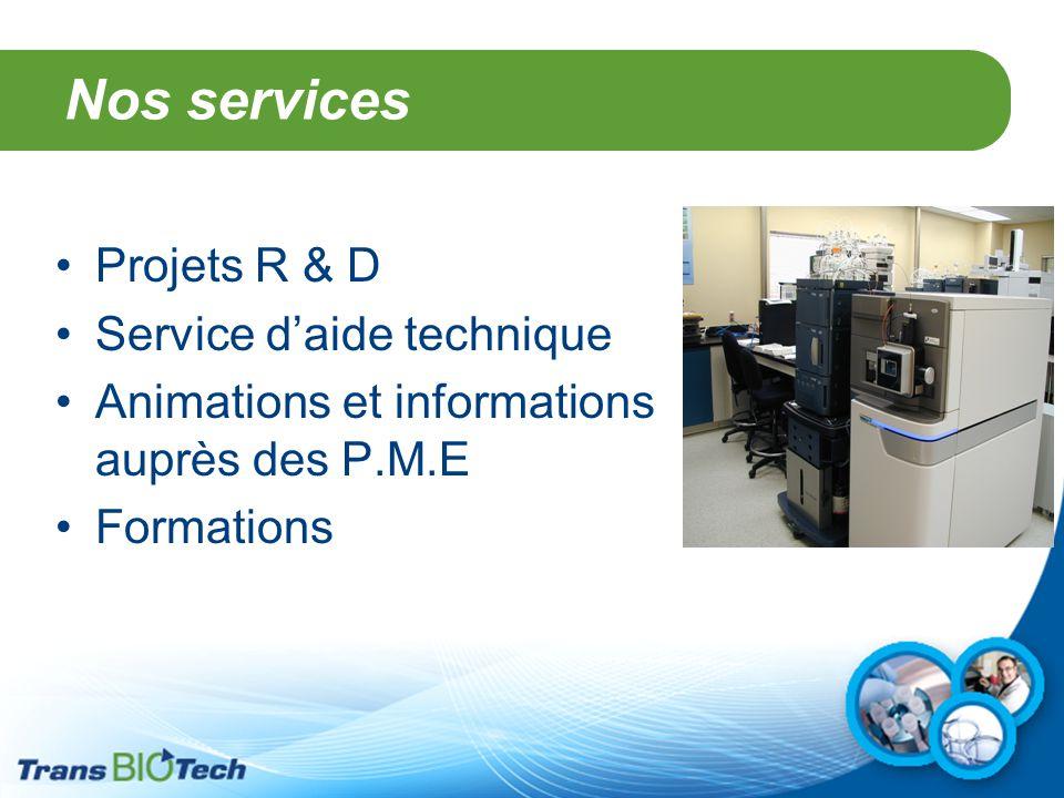 Nos services Projets R & D Service d'aide technique Animations et informations auprès des P.M.E Formations