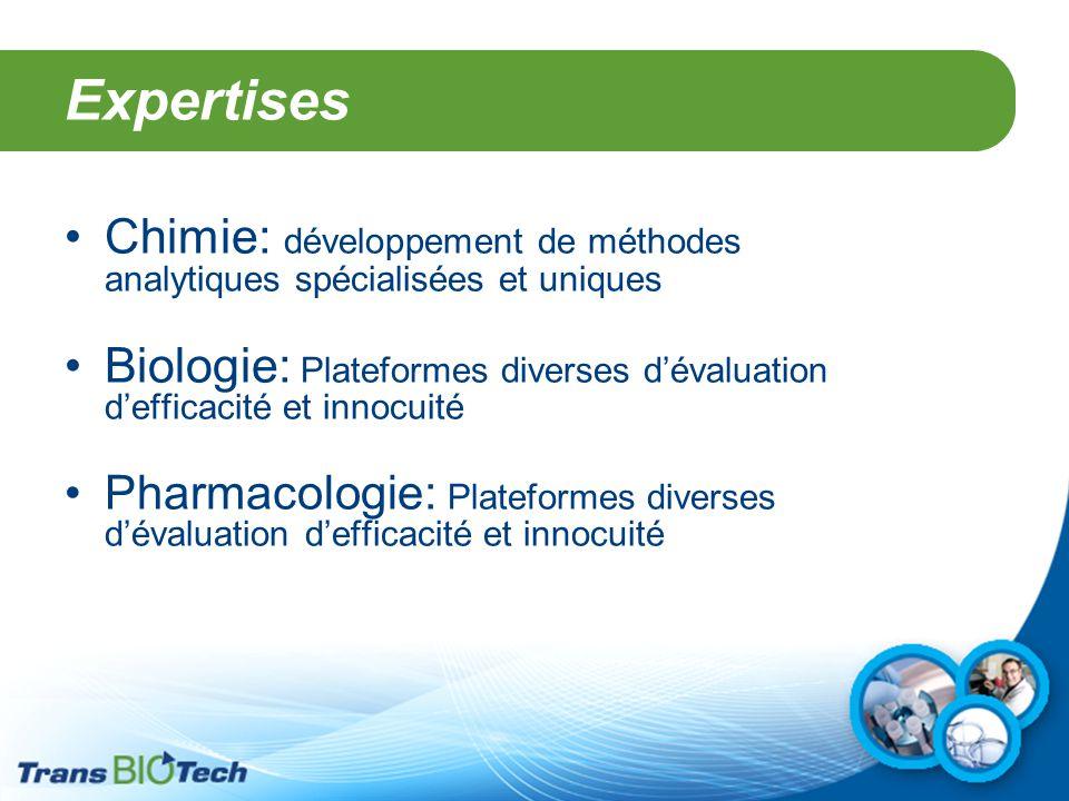 Expertises Chimie: développement de méthodes analytiques spécialisées et uniques Biologie: Plateformes diverses d'évaluation d'efficacité et innocuité