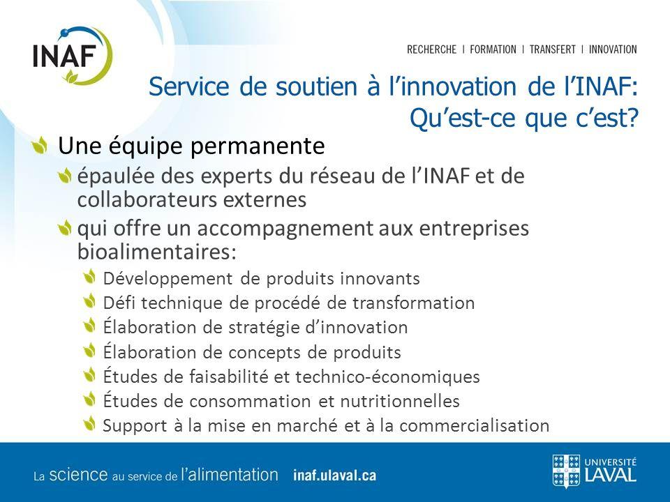Service de soutien à l'innovation de l'INAF: Qu'est-ce que c'est? Une équipe permanente épaulée des experts du réseau de l'INAF et de collaborateurs e