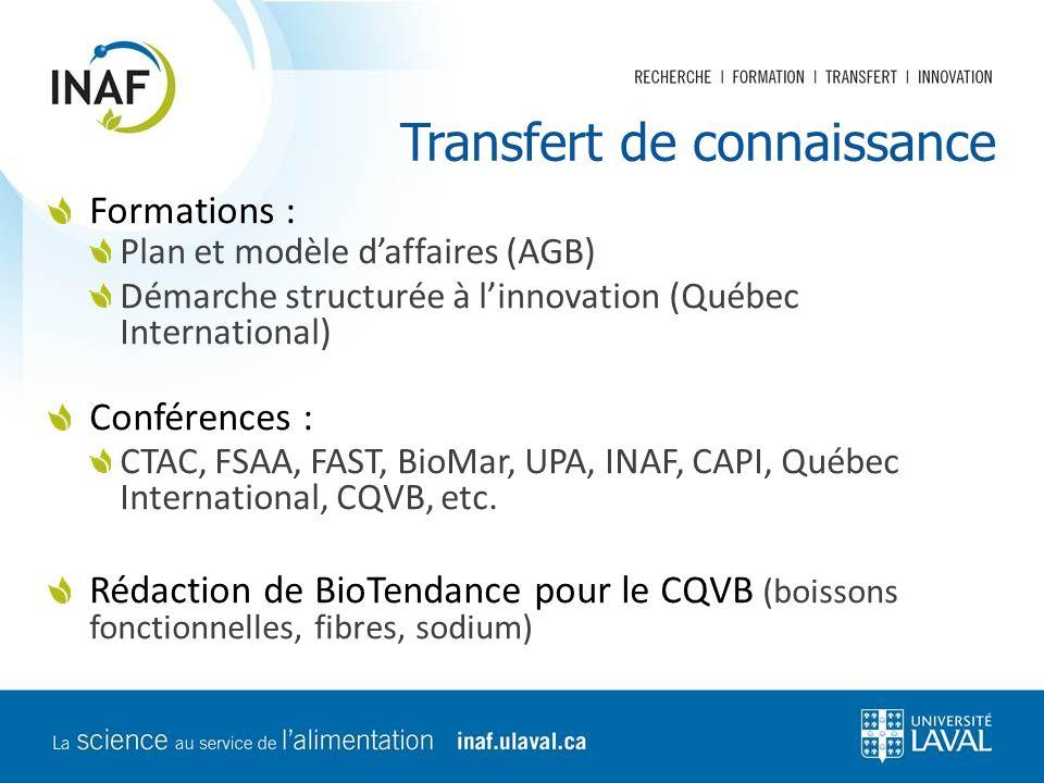 Transfert de connaissance Formations : Plan et modèle d'affaires (AGB) Démarche structurée à l'innovation (Québec International) Conférences : CTAC, F