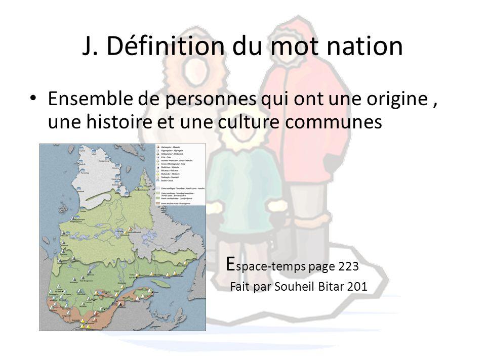 J. Définition du mot nation Ensemble de personnes qui ont une origine, une histoire et une culture communes E space-temps page 223 Fait par Souheil Bi