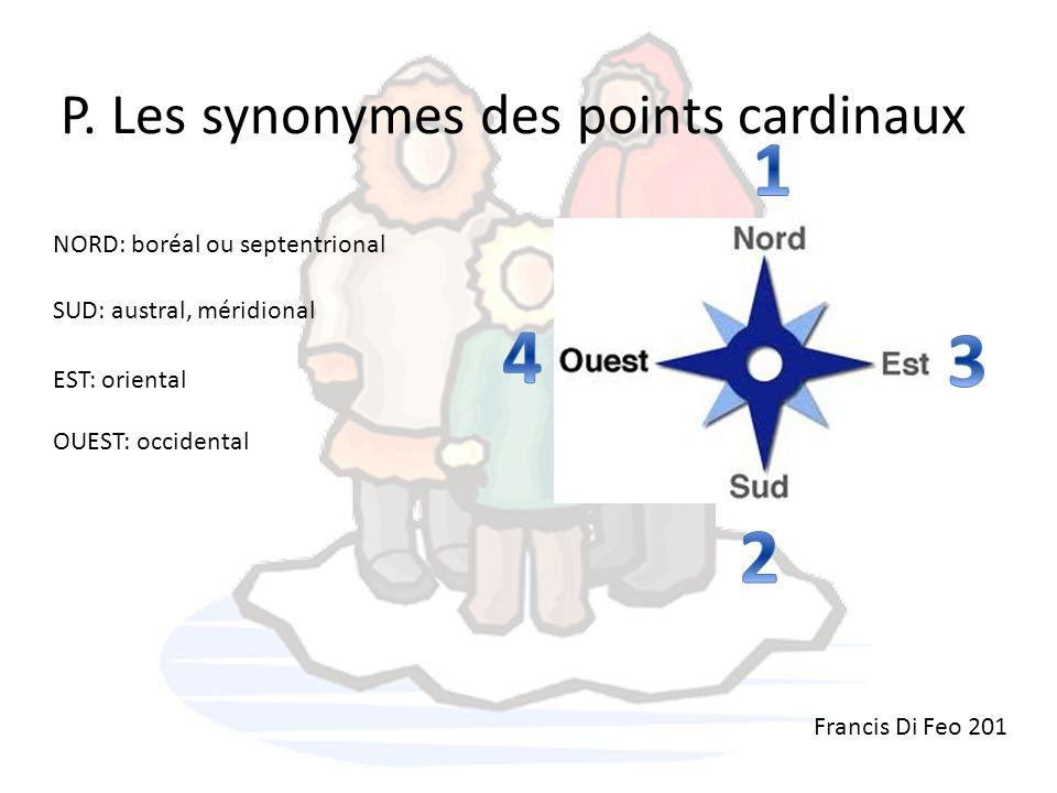 P. Les synonymes des points cardinaux NORD: boréal ou septentrional Francis Di Feo 201 SUD: austral, méridional EST: oriental OUEST: occidental