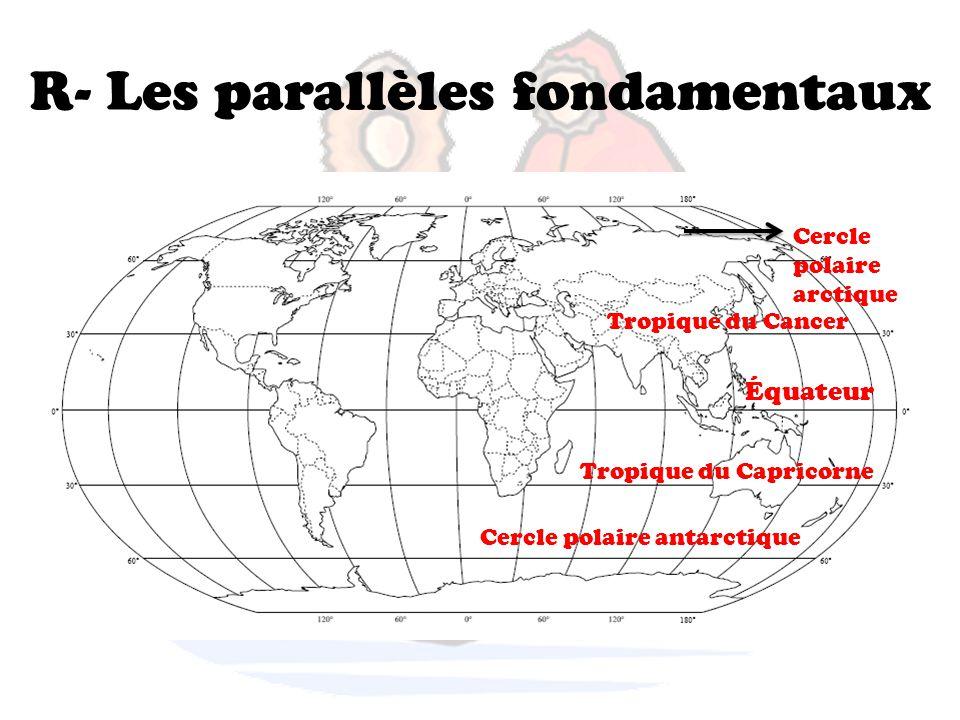 R- Les parallèles fondamentaux Cercle polaire arctique Tropique du Cancer Équateur Tropique du Capricorne Cercle polaire antarctique