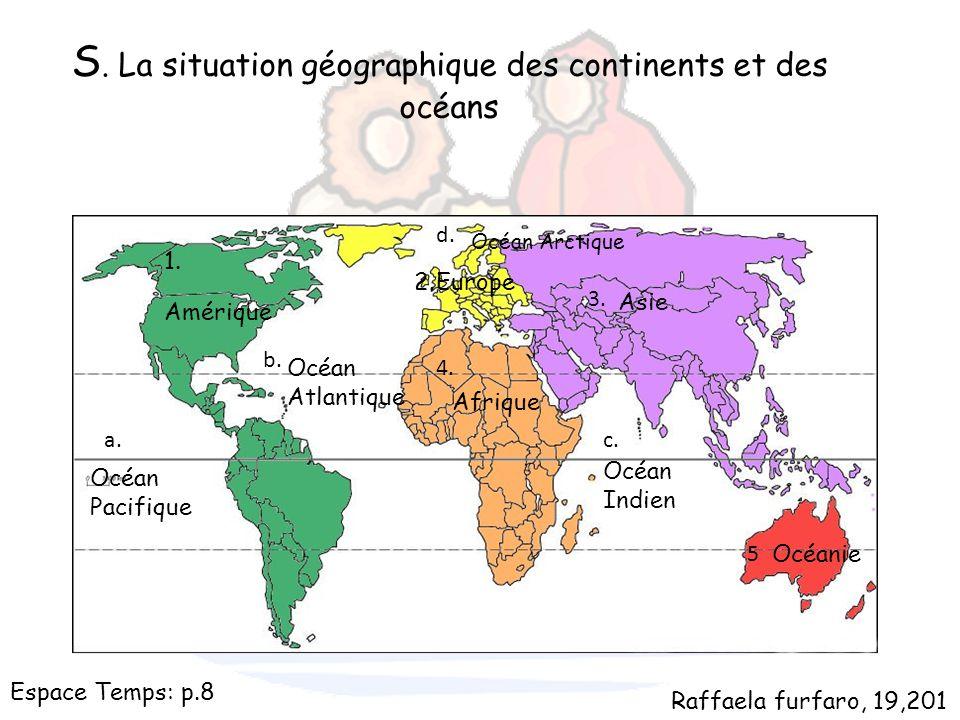 S. La situation géographique des continents et des océans 1. 2. 3. 4. 5 a. b. c. d. Amérique Europe Asie Afrique Océanie Océan Pacifique Océan Atlanti