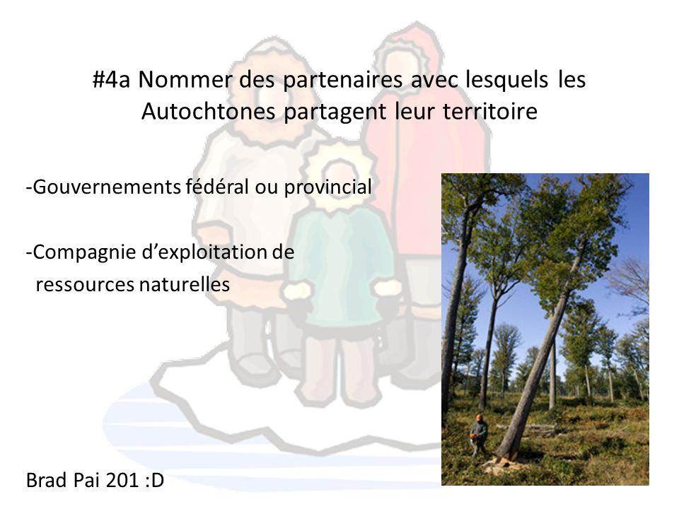#4a Nommer des partenaires avec lesquels les Autochtones partagent leur territoire -Gouvernements fédéral ou provincial -Compagnie d'exploitation de r