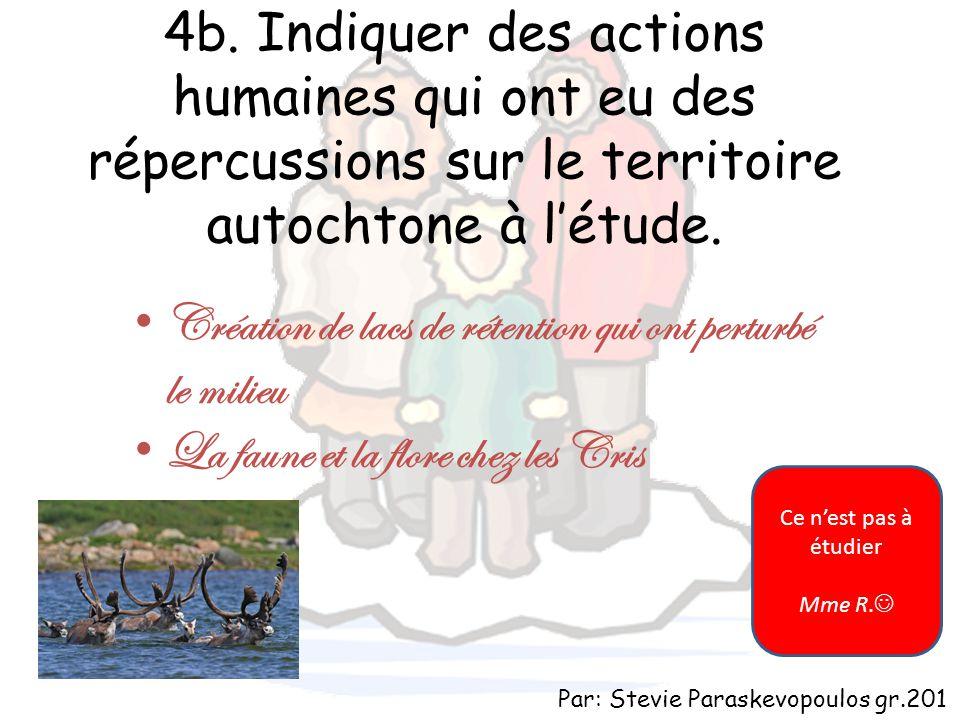 4b. Indiquer des actions humaines qui ont eu des répercussions sur le territoire autochtone à l'étude. Création de lacs de rétention qui ont perturbé
