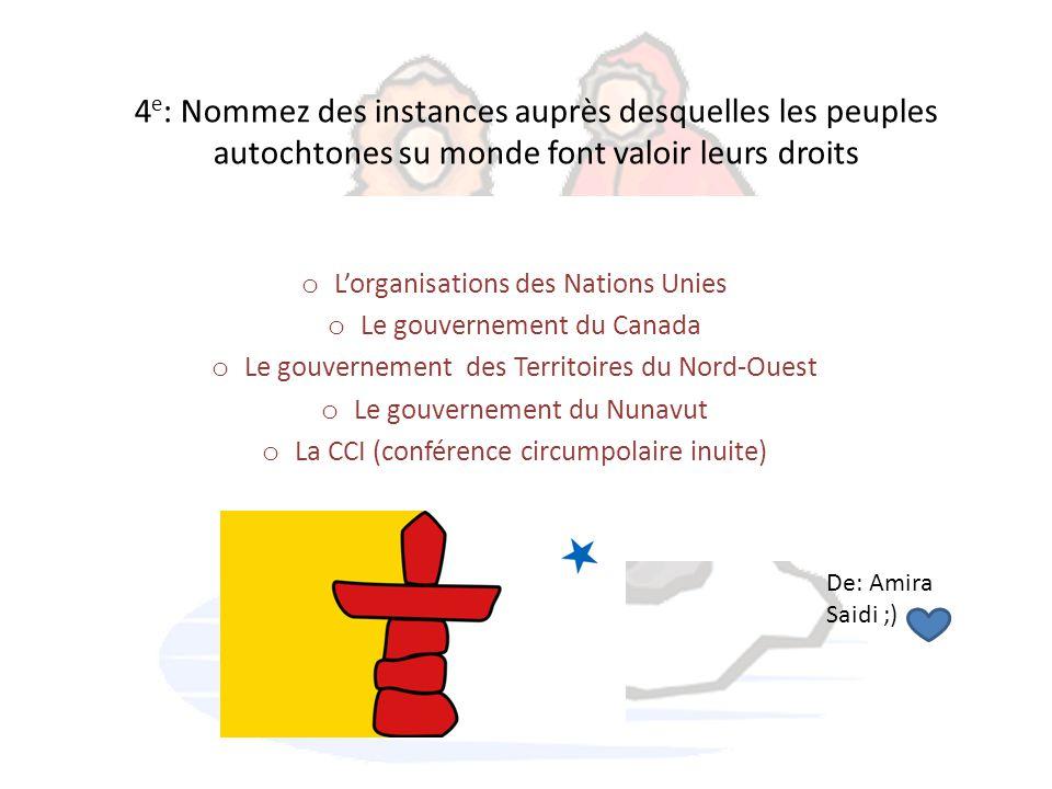4 e : Nommez des instances auprès desquelles les peuples autochtones su monde font valoir leurs droits o L'organisations des Nations Unies o Le gouver