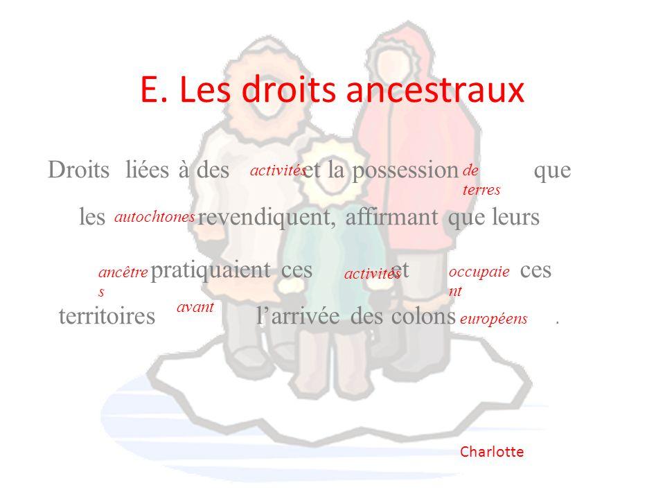 E. Les droits ancestraux Droits liées à des et la possession que les revendiquent, affirmant que leurs pratiquaient ces et ces territoires l'arrivée d