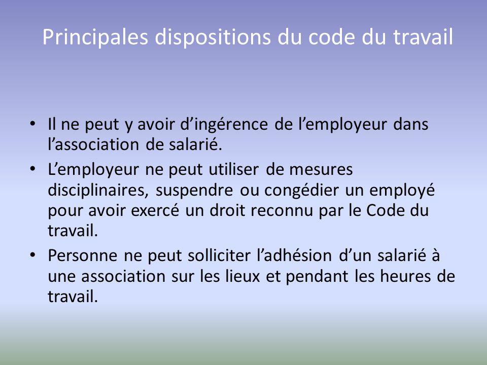 Principales dispositions du code du travail Il ne peut y avoir d'ingérence de l'employeur dans l'association de salarié.