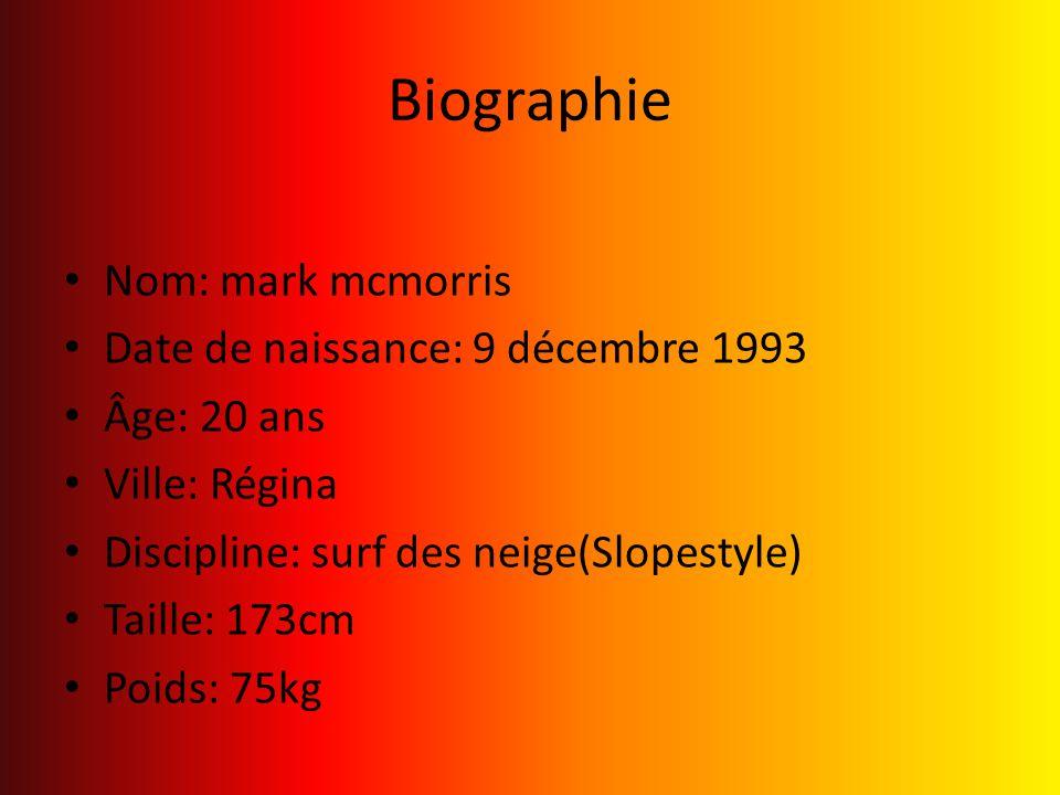 Biographie Nom: mark mcmorris Date de naissance: 9 décembre 1993 Âge: 20 ans Ville: Régina Discipline: surf des neige(Slopestyle) Taille: 173cm Poids:
