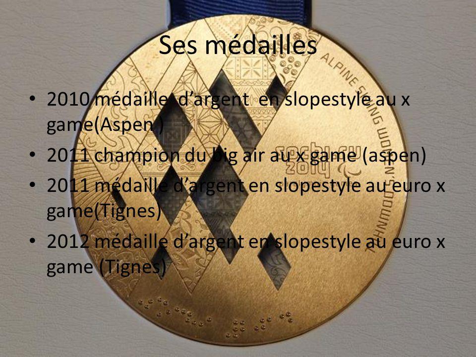Ses médailles 2010 médaille d'argent en slopestyle au x game(Aspen ) 2011 champion du big air au x game (aspen) 2011 médaille d'argent en slopestyle au euro x game(Tignes) 2012 médaille d'argent en slopestyle au euro x game (Tignes)