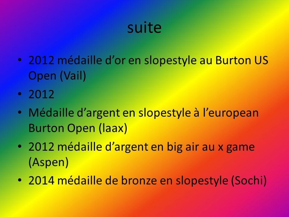 suite 2012 médaille d'or en slopestyle au Burton US Open (Vail) 2012 Médaille d'argent en slopestyle à l'european Burton Open (laax) 2012 médaille d'a