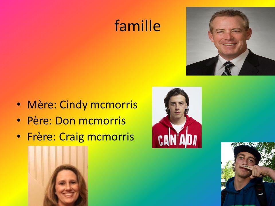 famille Mère: Cindy mcmorris Père: Don mcmorris Frère: Craig mcmorris