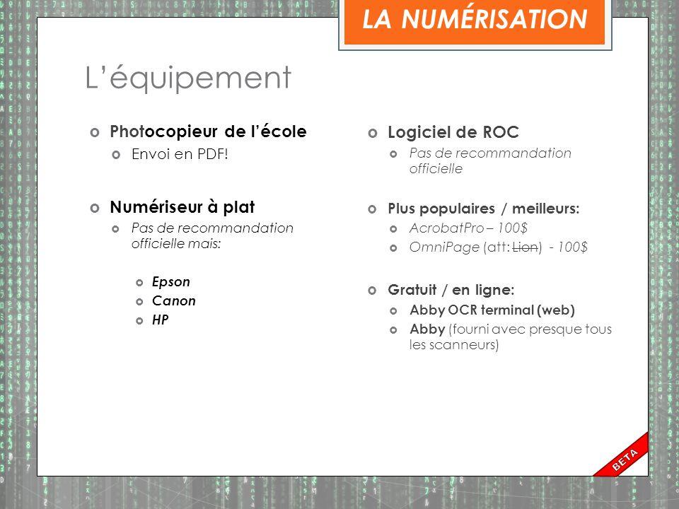 La numérisation – complexe. Numériser le document: 1.