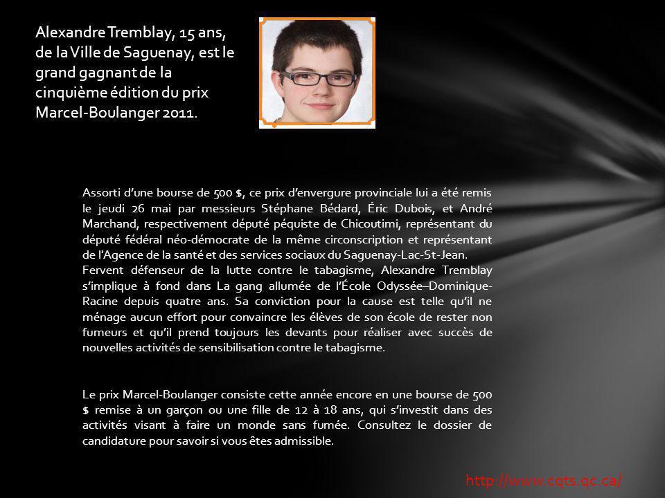 Alexandre Tremblay, 15 ans, de la Ville de Saguenay, est le grand gagnant de la cinquième édition du prix Marcel-Boulanger 2011.