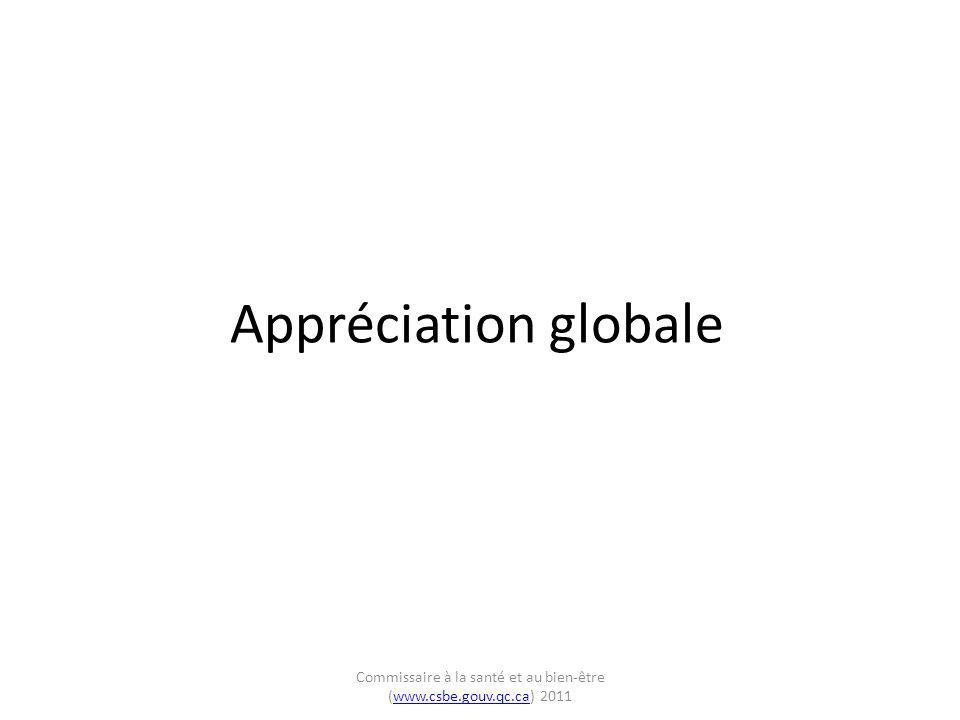 Appréciation globale Commissaire à la santé et au bien-être (www.csbe.gouv.qc.ca) 2011www.csbe.gouv.qc.ca