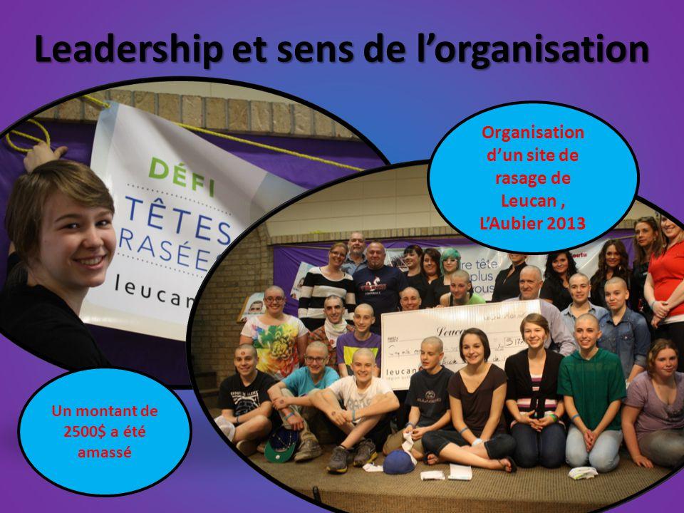 Leadership et sens de l'organisation Organisation d'un site de rasage de Leucan, L'Aubier 2013 Un montant de 2500$ a été amassé