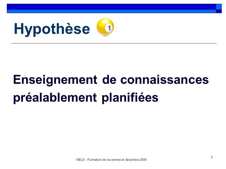 2 Hypothèse Enseignement de connaissances préalablement planifiées MELS - Formation de novembre et décembre 2009