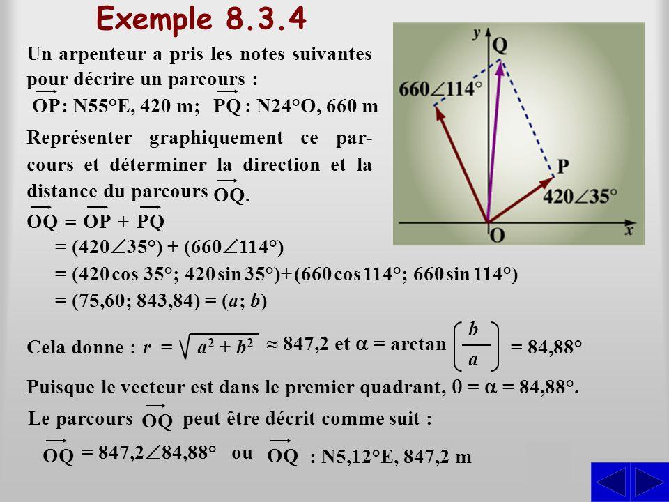 = (420  35°) + (660  114°) = (420 cos 35°; 420 sin 35°)+ (660 cos 114°; 660 sin 114°) = (75,60; 843,84) = (a; (a; b)b) Exemple 8.3.4 Un arpenteur