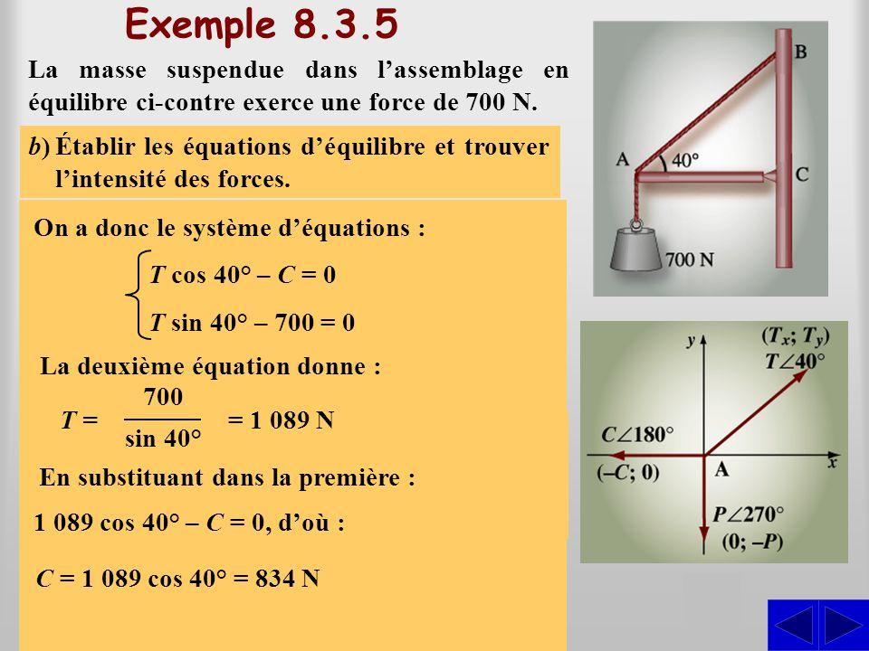 Exemple 8.3.5 La masse suspendue dans l'assemblage en équilibre ci-contre exerce une force de 700 N. S a)Représenter dans un système d'axes les forces