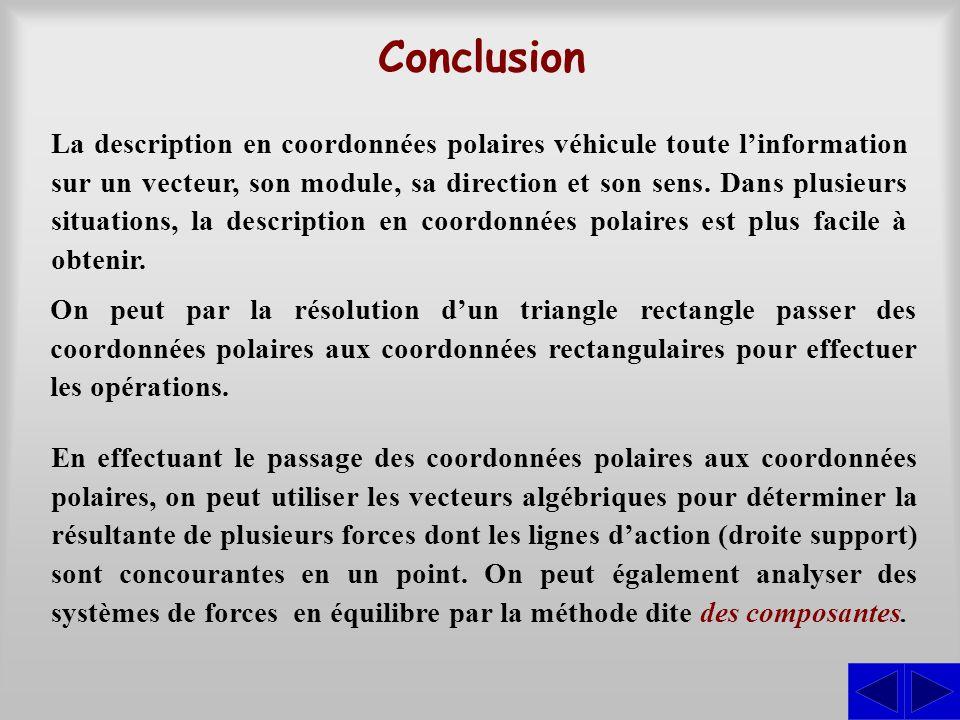 Conclusion La description en coordonnées polaires véhicule toute l'information sur un vecteur, son module, sa direction et son sens. Dans plusieurs si