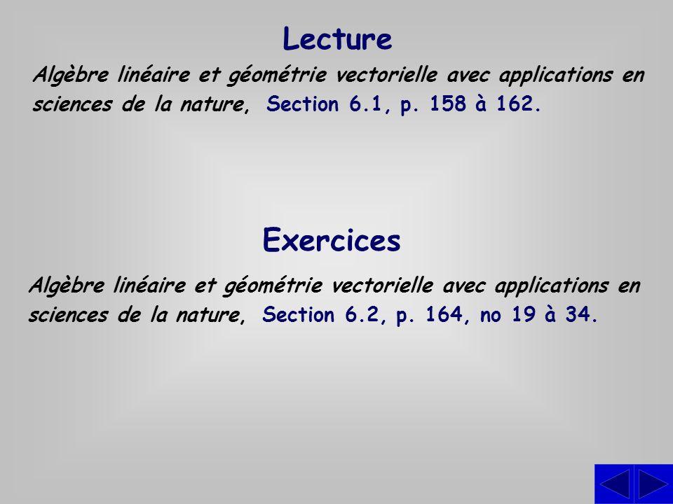 Exercices Algèbre linéaire et géométrie vectorielle avec applications en sciences de la nature, Section 6.2, p. 164, no 19 à 34. Lecture Algèbre linéa