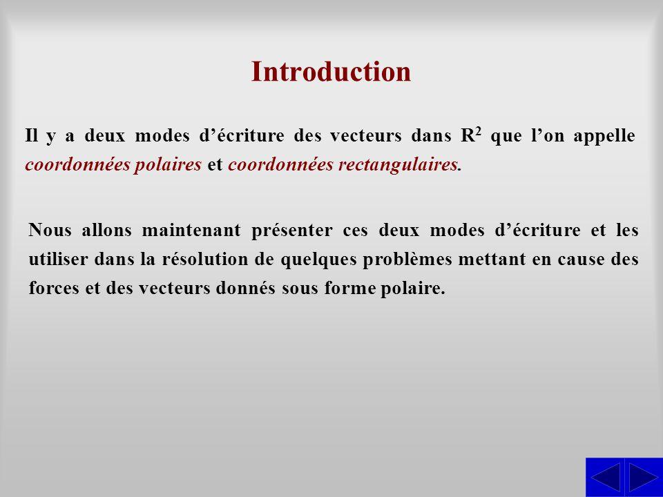 Introduction Il y a deux modes d'écriture des vecteurs dans R 2 que l'on appelle coordonnées polaires et coordonnées rectangulaires. Nous allons maint