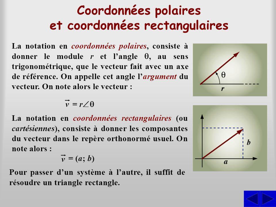 (–2) 2 + (–5) 2 Exemple 8.3.1 Représenter graphiquement et exprimer en coordonnées polaires le vecteur : v = (–2; –5)  = arctan –5 –2 = 68,20°  =  + 180° = 68,20° + 180° = 248,20° r = Le module est : L'angle  est : S La représentation du vecteur dans un système d'axes nous indique que le vecteur est dans le troisième quadrant.